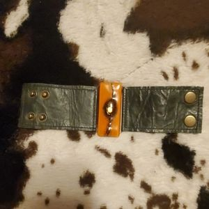 Hand-made Leather and Glass Cuff Bracelet
